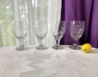 Libbey Orchard Clear Embossed Fruit Stemmed Glasses Stemware Set Of 4