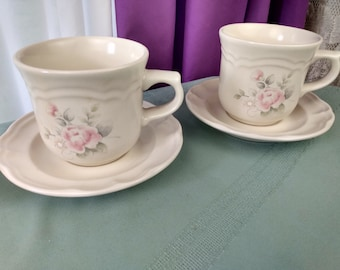Pfaltsgraff Tea Rose Cup And Saucer 2 Sets Stoneware Pink Blue Floral On Beige Drinkware Ceramic Shabby Chic Country Cottage Pink Rose