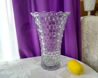 Indiana Whitehall Large Vase Clear Glass Cubed Tall Vase ~ Mid Century Collectible Cubist Pattern Vintage Decorative Glass