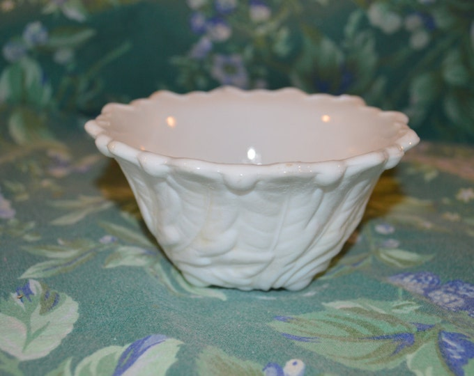 Indiana Lily Pond Wild Rose Milk Glass Sculpted Footed Bowl Scalloped Rim Wedding Decor Shabby Chic Country Cottage White Wedding
