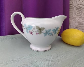 Vintage Fine China 6701 Creamer Grapes Vines And Leaves by Max Schonfeld Milk Pitcher Platinum Trim