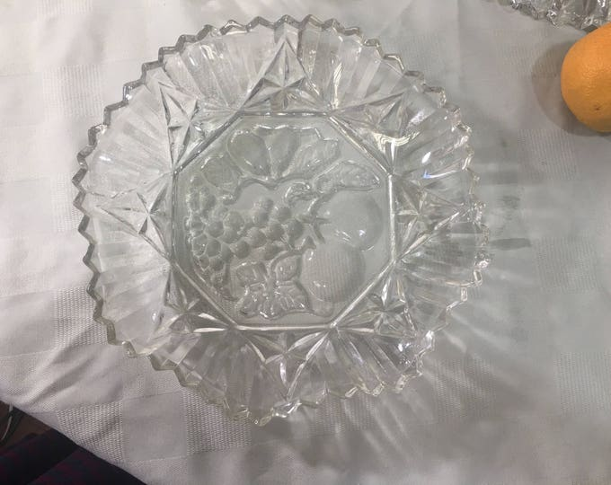 Federal Pioneer Pattern Clear Pressed Glass 10 Inch Bowls Fruit Embossed Center Crimped Edges Rim Large Soup Bowls Set Of 4