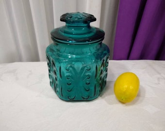 LE Smith Teal Canister Atterbury Scroll Imperial Glass Canister RARE Vintage Aqua Marine Canister Retro Glass Canister