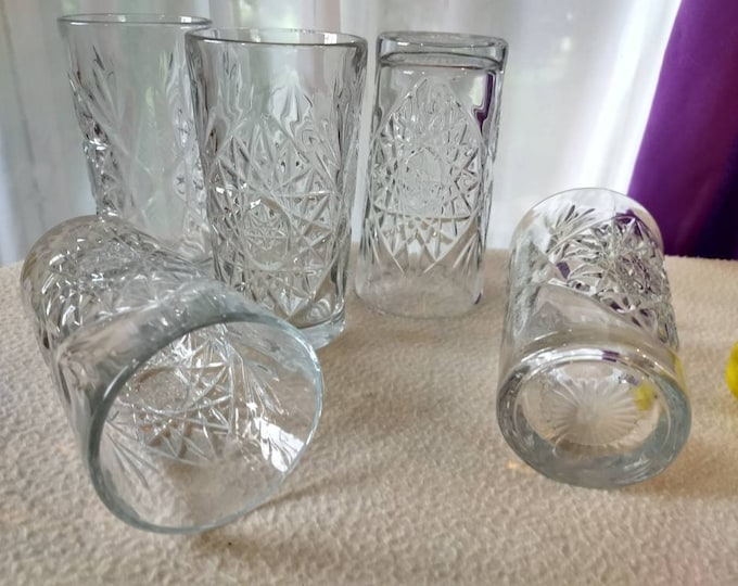 Set Of 5 Hobstar Water Glasses By Libbey Heavy Pinwheel EAPG Style Tumblers Mid Century Colonial Style Drinkware