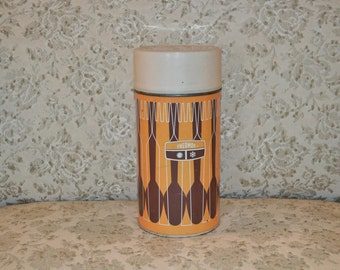 Vintage 1 Pint Thermos Brand Brown & Orange Geometrical Design ~ King-Seeley Thermos 1971 ~ Father's Day Gift ~ Retro Mid Century ~16 OZ