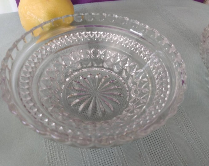 Wexford Cereal Bowls Set Of 2 Clear Anchor Hocking 5 1/4 Inch Pressed Glass Replacement Dinnerware Dessert Salad Dish GrandesTreasures Retro