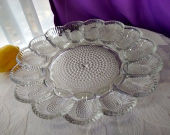 Indiana Glass Hobnail Clear Deviled Egg Platter Easter Mid Century Tray Plate