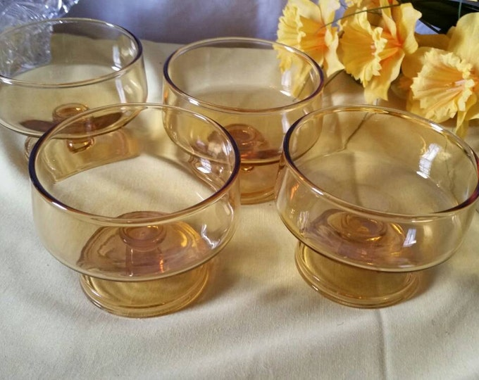 Amber Modern Mid Century Sherbert Parfait Dishes Footed Bowls Set of 4 Candle Votive  Party Decor  Dessert ~ Cavalier Style  Champagne Glass