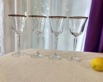 Set Of 4 Mikasa Wheaton Lead Crystal Water Goblets Double Gold Guilt Band Fine Dining Wedding Engagement Party Decor Drinkware
