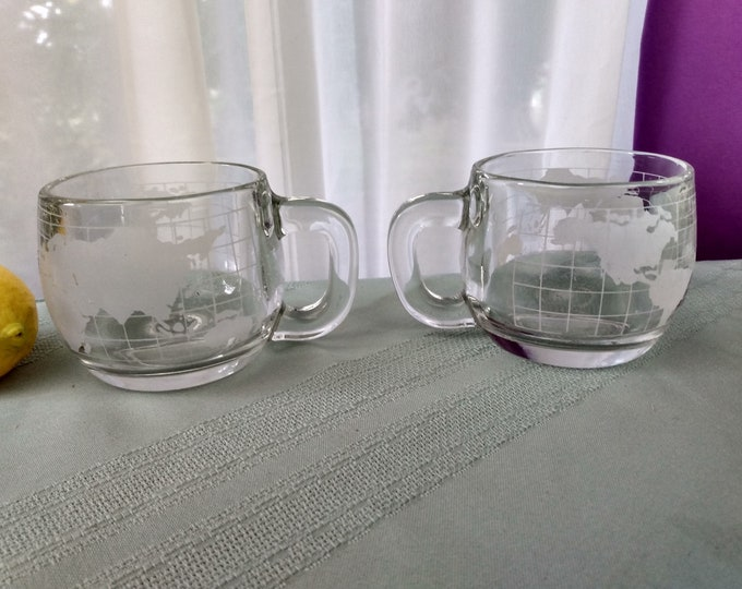 Vintage Nestle Clear Glass World Globe Coffee Mugs Promotional Nescafe Etched Cups Mid Century Votive Candle Holder Man Cave Office