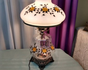 EF and EF industries Hurricane Table Lamp Collectible 3 Way Lighting Extra Large Shade Statement Lamp