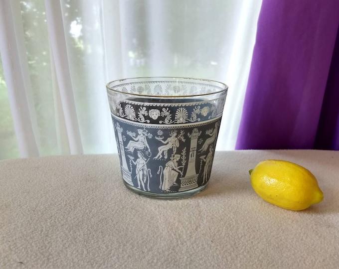 Jeannette Glass Ice Bucket Blue White Grecian Roman Trojan Motif Planter Bowl