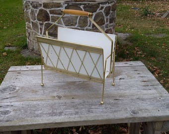 Mod Atomic Metal Magazine Rack White And Gold Tone Retro Magazine Holder  Mid Century Retro