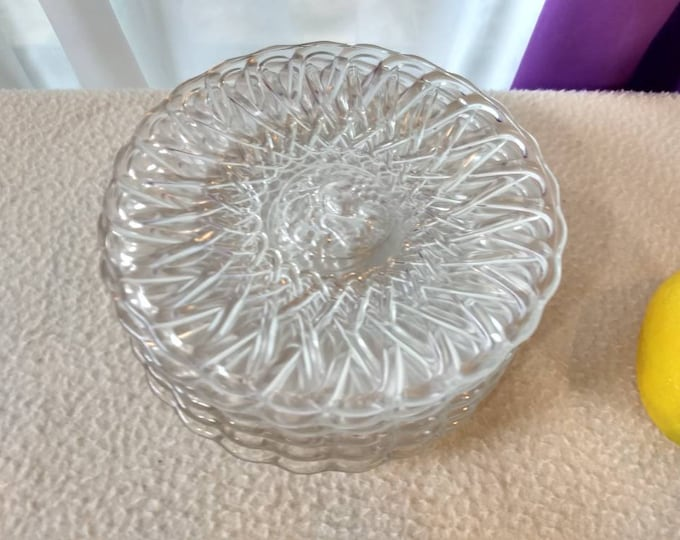 Set Of 6 Vintage Pretzel Glass Intaglio Fruit Center Design 6 Inch Diameter Bread Plates  Dessert Plates By Indiana Glass Co.  EAPG 1930's