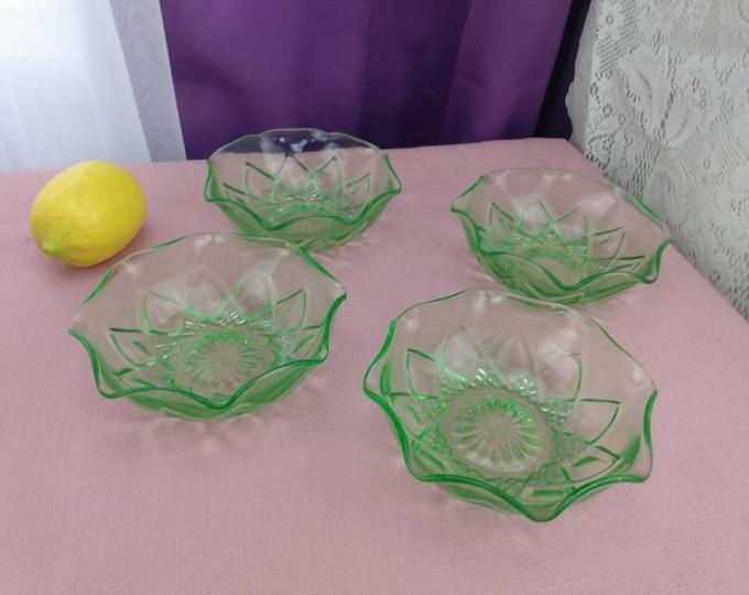 Hazel Atlas Uranium Berry Bowls Diamond Arches Ruffled Edges Green Antique Dessert Bowls Collectible 1920's Depression Glass