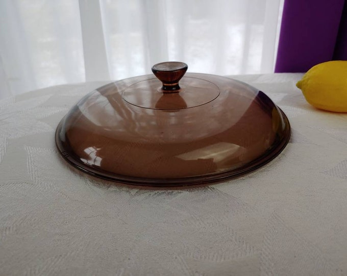Pyrex Visions Amber 624 C 2 Quart Casserole Replacement  Lid Brown Round Two QT Cover