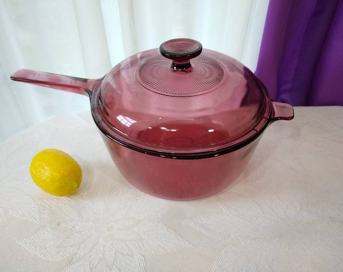 Cranberry Visions 2.5 Liter Sauce Pan  With Cover Corning Pyrex Vision Ware Glass Large Stove Top Pan With Cover