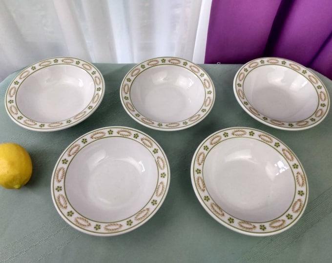 Shenango China Bowls Restaurantware Green Flowers Tan Oval Circles Set Of 5