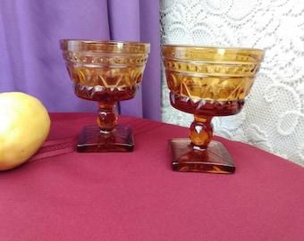 Indiana Colony Park Lane Amber Sherbert Cups ~ Set Of 2 ~ Dark Yellow Footed Dessert Bowls Pedestal Bowls Retro Glassware Vintage Kitchen