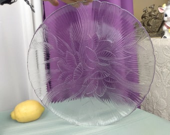 Arcoroc Canterbury Crocus Clear Glass Platter13 Inch Pastrie Cake Dessert DIY Wedding Round Serving Tray France Affordable Party Torte