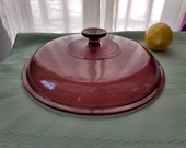 Pyrex Visions Cranberry 10 inch Lid Fits the Visions 10 Visionware Skillet Replacement Pink Glass Cover