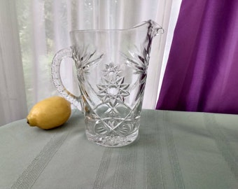 Anchor Hocking Vintage Prescut Star Of David Clear Pressed Glass Water Pitcher 60 Oz