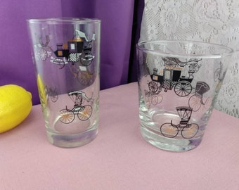 Libbey Antique Car Glasses Set Of 2 Replacement Glasses Black Gold Clear Highly Collectible Tumbler & Rocks Glass Drinkware