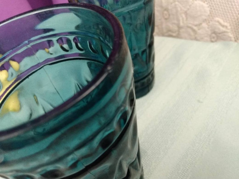 Blue Colony Park Lane Tumblers By Indiana Glass Set Of 2 Smoke Blue Heavy Glasses