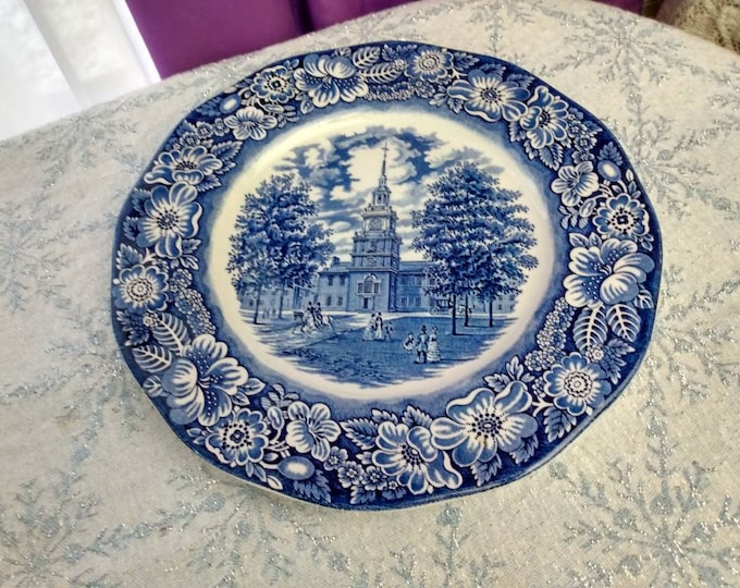 Independence Hall Plate Historic Colonial Scenes Staffordshire Ironstone Original Copper Engravings Marked Colonial Blue Dinner 10 Inch Wall