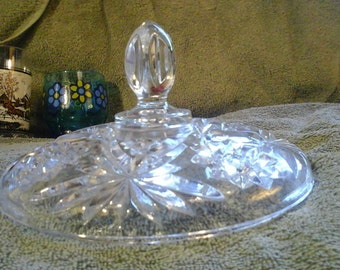 Anchor Hocking Early American Prescut Star Of David Clear Glass Candy Dish  8 Inch Replacement Lid Cover