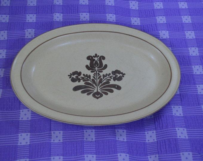 Pfaltzkraff Village 13 Inch Oval Stoneware Tan and Brown Serving Platter