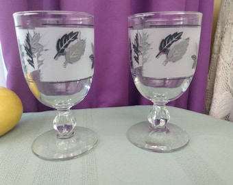Libbey Silver Foliage Clear Rim Mid Century Frosted Water Goblets ~ Wine Glasses Replacement Stemware Drinkware