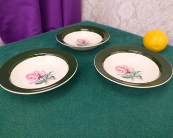 Taylor Smith Taylor TST15 Pink Rose Green Band Berry Bowls  # 9522 Set Of 3 5 1/2 Inch Wide Fruit Bowl Dinnerware Collectable Rhythm Rose