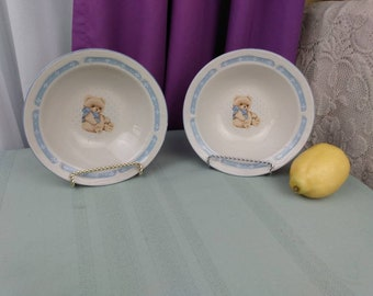 Tienshan Country Bear Stoneware Cereal Bowls Set of 2 Collectable Replacement China GrandesTreasures 7 Inch Diameter