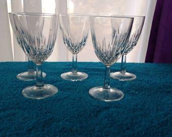 Luminarc Diamant Wine Glasses Set Of 2 Cristal D'Arques Durand Diamond Cut 6 3/4 Inch Tall 6 Oz. Wine Glasses France Stemware Formal Dining