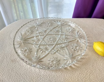 Early American Prescut Cake Plate # 706  Star Of David Anchor Hocking Cake Platter Dessert Serving Tray Affordable Wedding Mid Century Decor