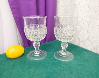 Diamond Point Clear Water Goblets By Indiana Glass Co. Set Of 2 Drinkware Mad Men MCM Drinkware Heavy Glasses Vintage Replacements