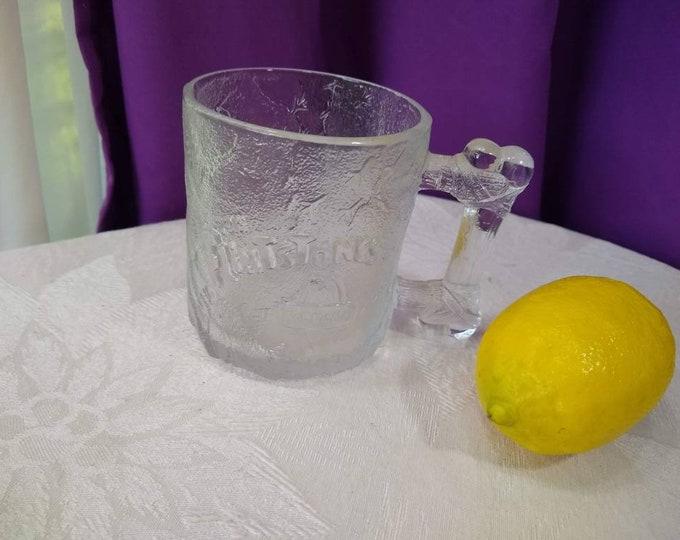 Flintstone RocDonald's McDonalds Mug Clear Embossed Glass Retired 1993 Vintage