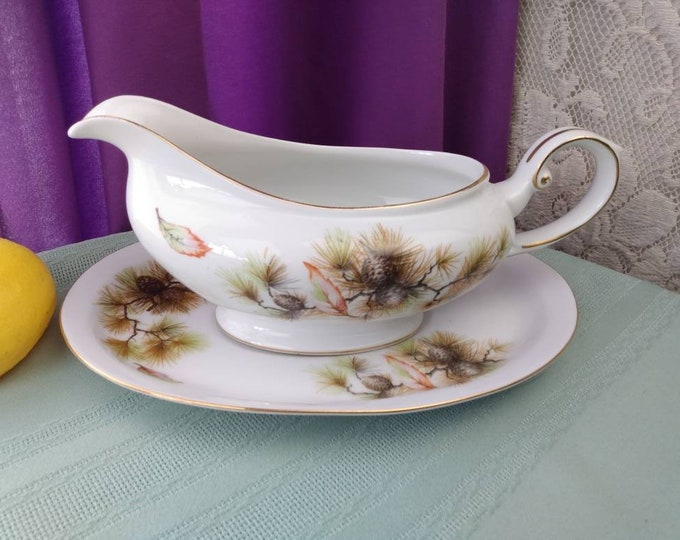 Kyoto Pines 7408 Gravy Boat With Under Plate Fine Bone China Made In Japan  Excellent! 1945-? Affordable Gift For Him Man Cave Fine China
