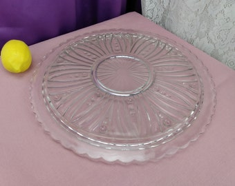 Anchor Hocking Bubble Burple Glass Art Deco Large Cake Plate 11 Inch Clear American Classic Anchor Affordable Gift RARE Mid Century Large