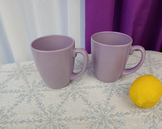 Corelle Lilac Lavendar Ceramic Mugs Set of 2 Light Purple Stoneware Handled Embossed Bottom  Rare Corning Corelle Coordinates Solid Color