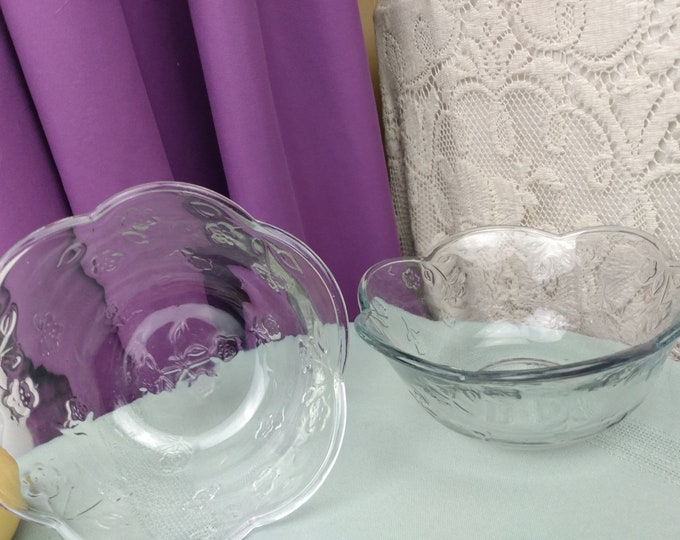 Anchor Hocking Savannah Glass Cereal Bowls Set Of 2 Embossed Petite Flowers Clear Heavy Glass 6 Inch Diameter Microwavable Oven Proof