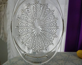 Jeannette Feather Large Oval Serving Platter Tray Open Handled Clear Depression Glass 10 1/2 Inch DIY Wedding Party