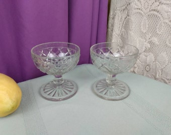 Anchor Hocking Waterford Dessert Sherbet Cups Champagne Cups Set Of 2 Waffle Pattern Circa 1930's Depression Glass Glassware Replacement
