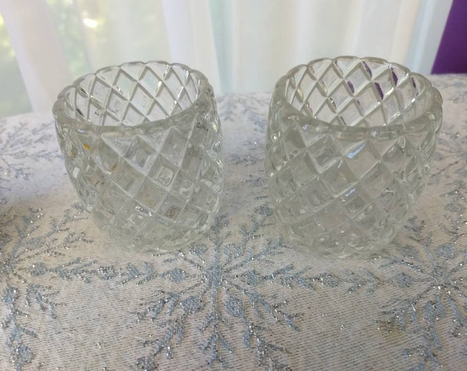 Waterford Pattern Glass Votive Set Of 2 Homco  Chris Cross Waffle Diamond ~ Anchor Hocking Pattern Romantic Entertaining Affordable Wedding