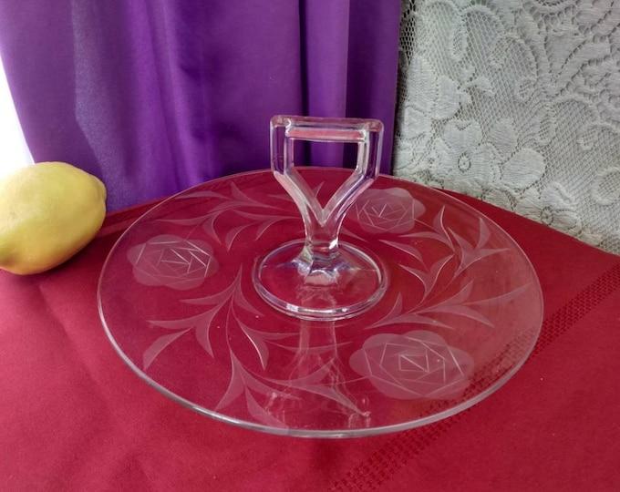 Imperial Glass # 664 Etched Rose Clear Glass Center Handle Serving Platter Desert Plate Vintage Formal Dining Antique 1920's