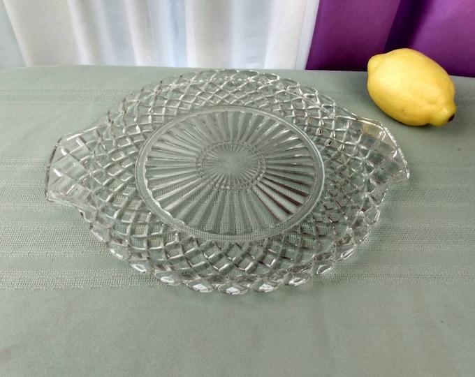 Anchor Hocking Waterford Cut Floral Clear Cake Platter 10 Inch Diameter Waffle Pattern Appetizer Dessert Plate DIY Wedding