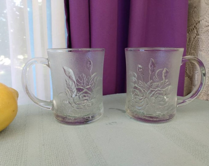 Frosted Livia Rose Embossed Mugs By Pasari Crystal Set Of 2 ndonesia Clear GlassTextured Replacement Affordable Gift