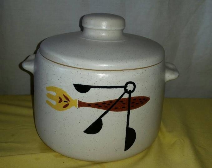 West Bend Slow Cooker Replacement Stoneware Bean Pot Soup Crock Mid Century Kitchen Fork Measuring Spoon  CLEAN!
