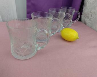 Arcoroc Clear Glass Canterbury Crocus Pattern Coffee Mugs Set Of 4